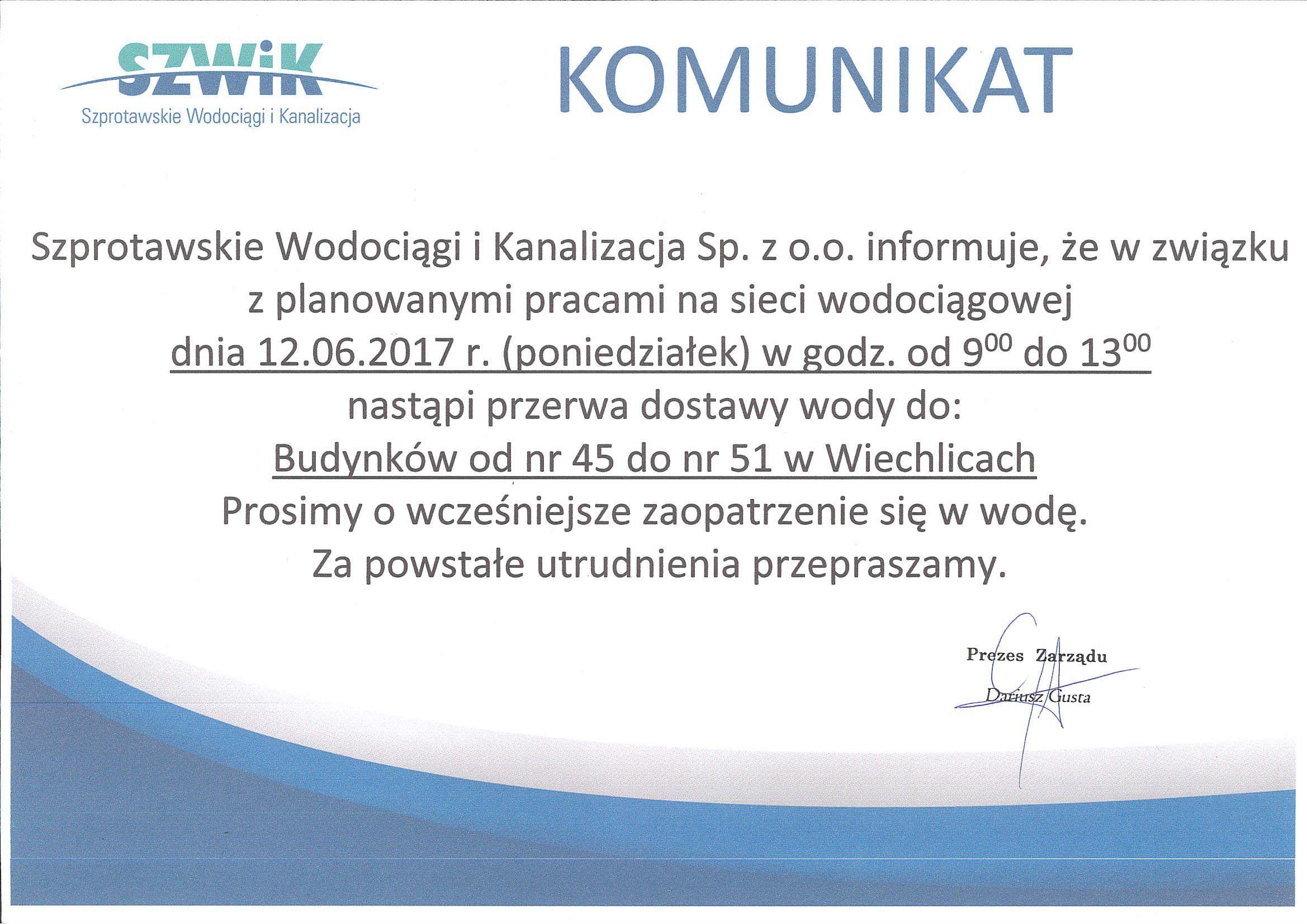 Ilustracja do informacji: Komunikat SzWiK