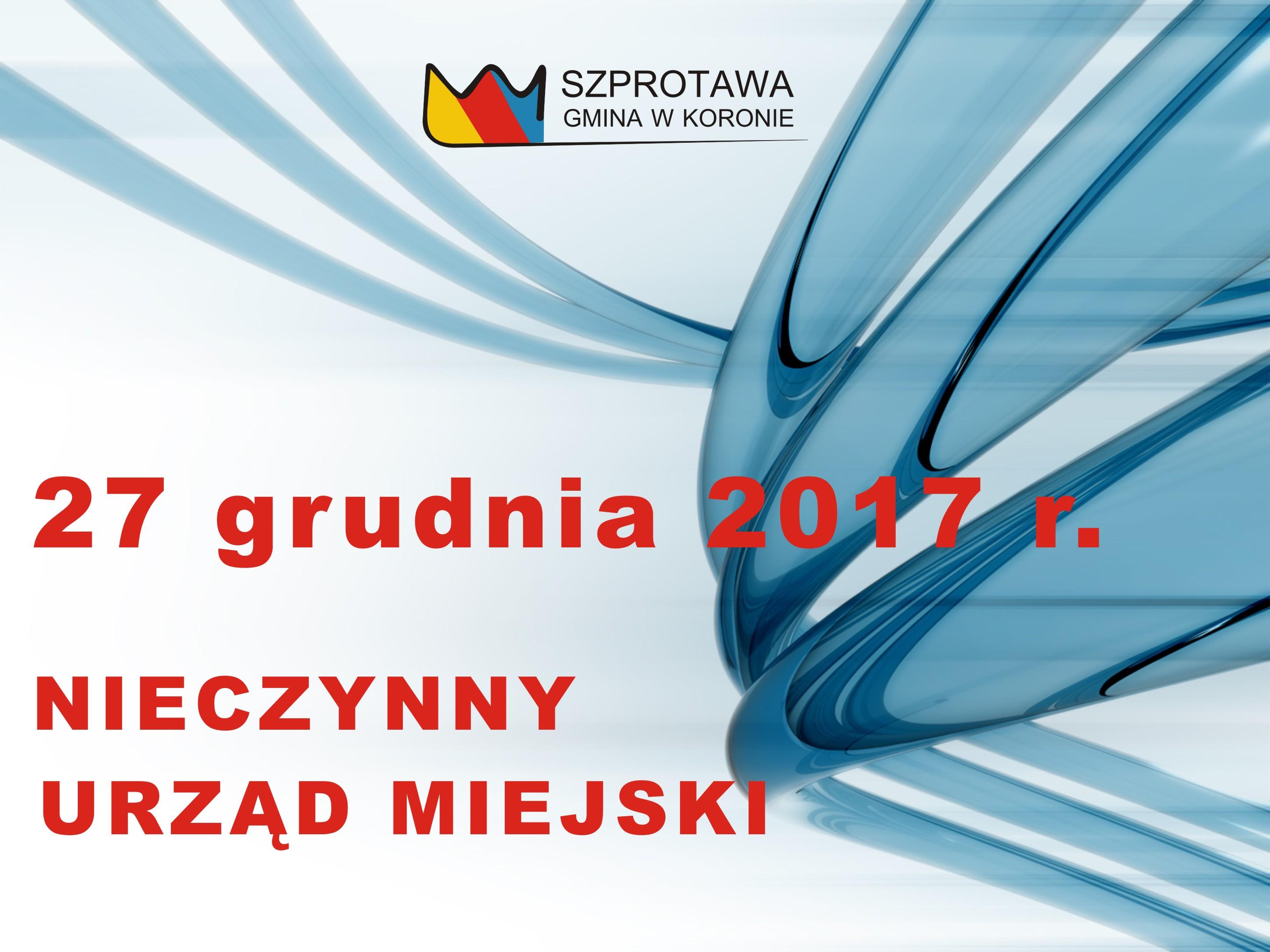 Ilustracja do informacji: 27 grudnia br. nieczynny Urząd Miejski