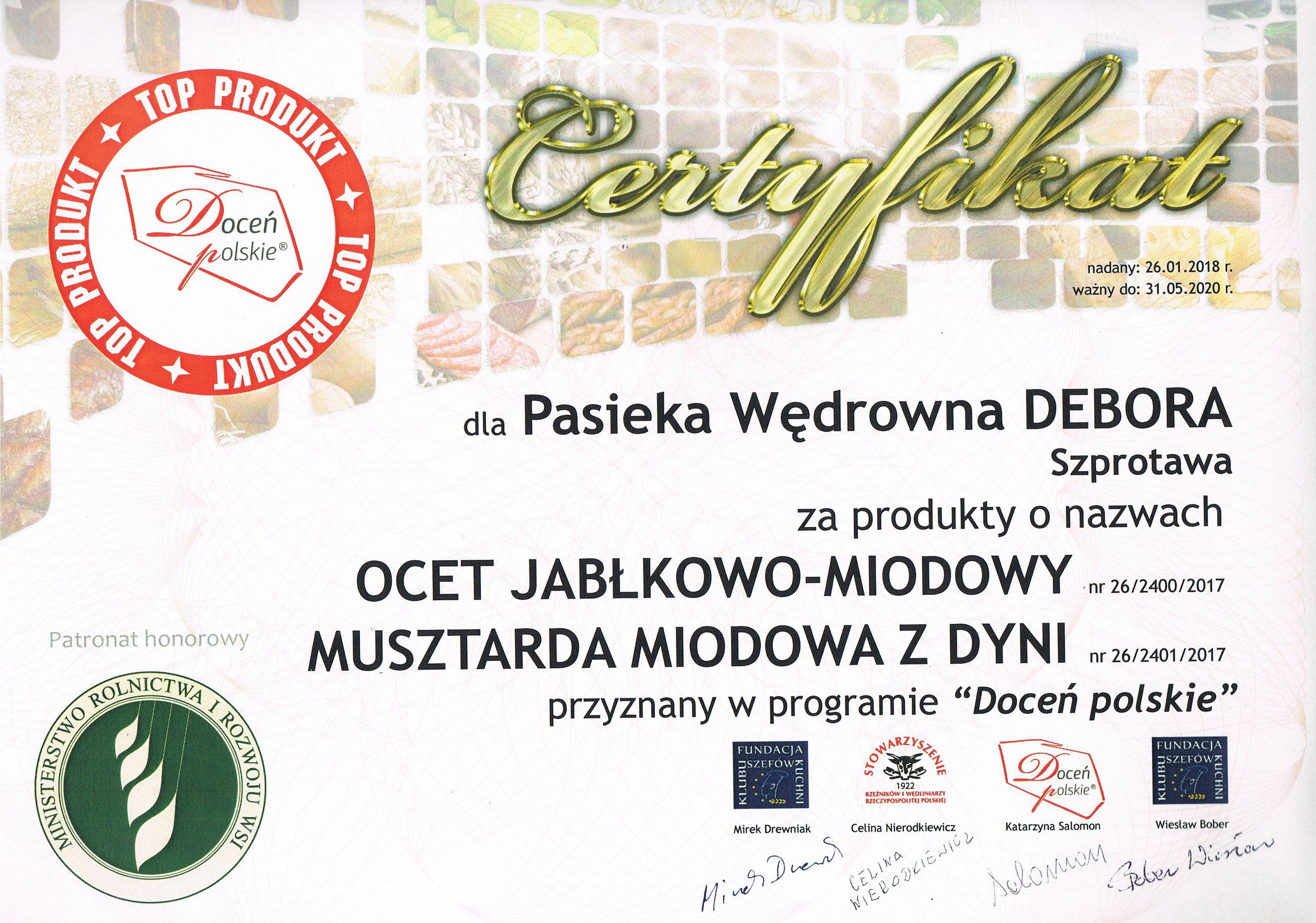 """Ilustracja do informacji: Specjały Pasieki Wędrownej """"Debora"""" TOP PRODUKTAMI programu """"Doceń polskie"""""""