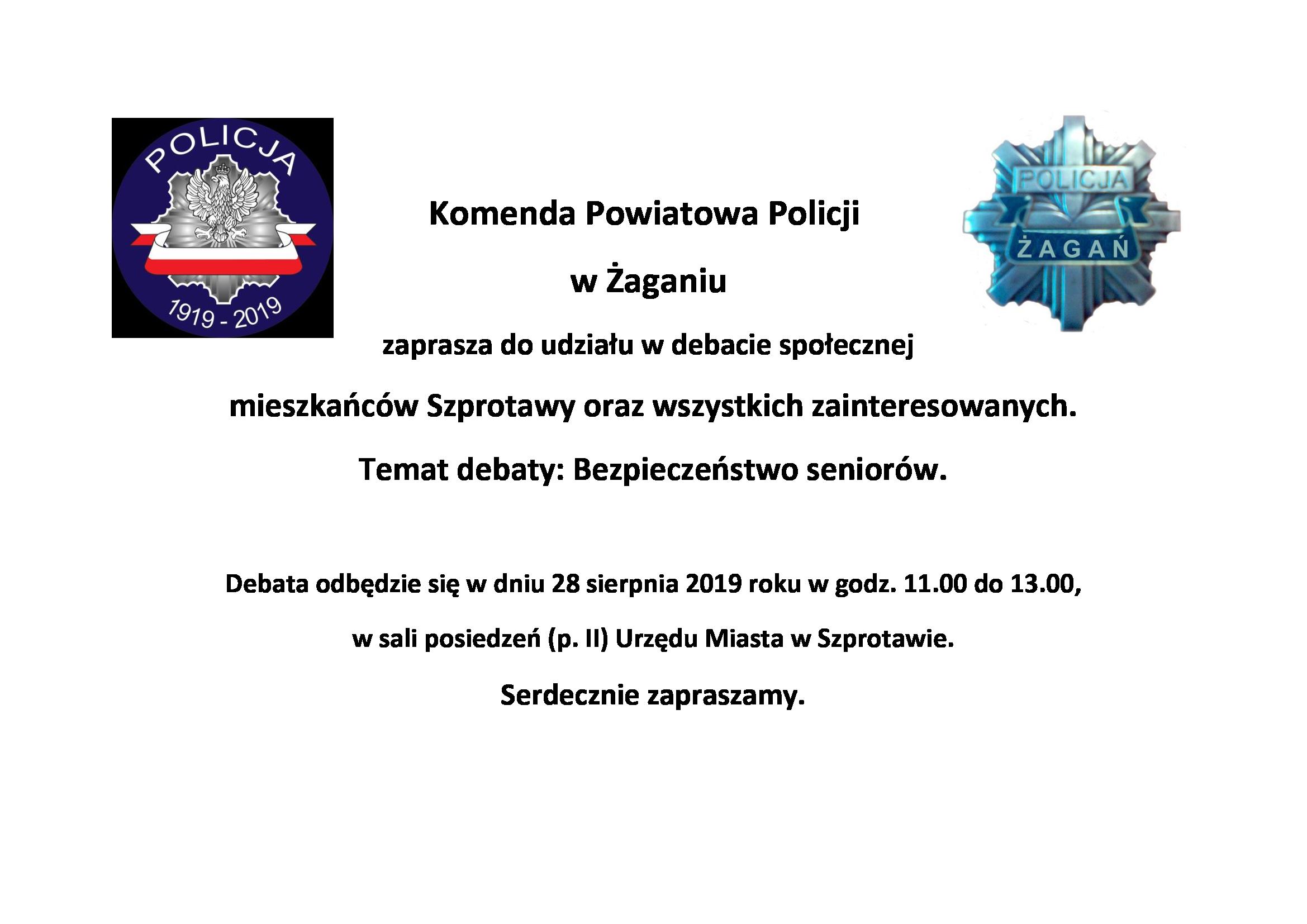 Ilustracja do informacji: Komenda Powiatowa Policji w Żaganiu zaprasza do udziału w debacie społecznej